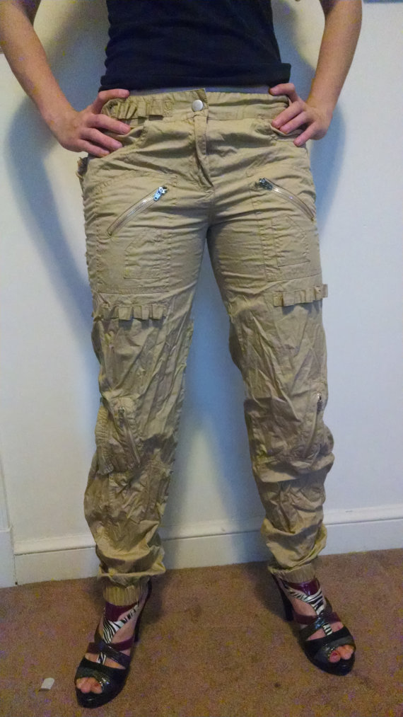 Tan corseted pants by luxcloser on etsy