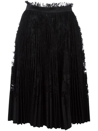 skirt lace skirt pleated women lace cotton black silk