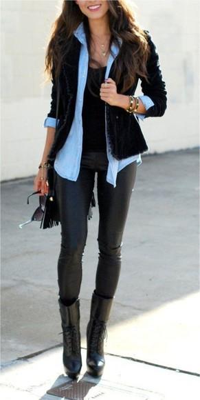 denim shirt jacket shoes top chic denim casual leather pants leggings boots