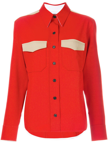shirt women wool red top