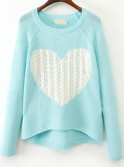 Pull En Tricot Motif Cœurs -Bleu