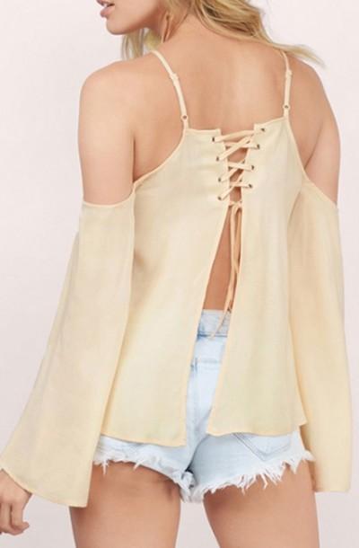 top criss cross beige trendy long sleeves summer beautifulhalo