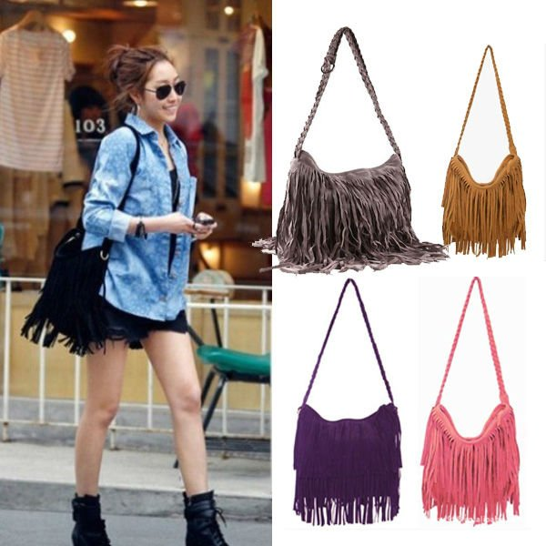Hot Sale 2013 Fashion Women Handbag Tassel Cross Body Women Bag Solid Color Zipper Shoulder Bags Women Leather Handbags BG 0014-in Shoulder Bags from Luggage & Bags on Aliexpress.com