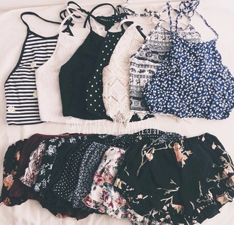 shorts white black cute top tank top no sleeve floral necklace collar floral tank top boho boho shirt tumblr tribal pattern tribal print shorts pretty blue pants crop tops outfit victoria's secret summer top halter top style flowers shirt fashion summer shorts two-piece trendy blouse polka dots stripes tumblr shirt tumblr shorts pattern