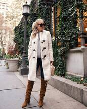 shoes,brown boots,knee high boots,jeans,white coat,bag,sweater,knitted sweater,leather boots