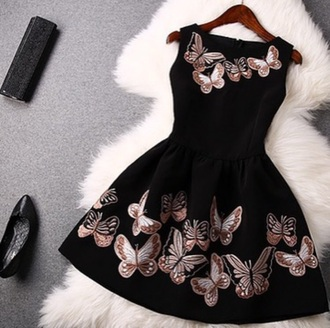 dress short dress black short dress butterfly dress black dress