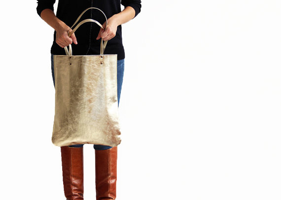 GOLD Leather tote bag women leather bag by LeahLerner on Etsy