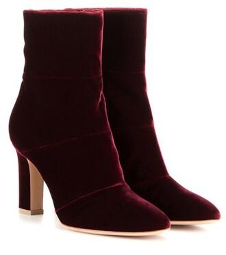 boots ankle boots velvet purple shoes
