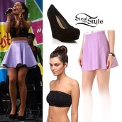 shoes,ariana grande,skirt,shirt,plaid shirt,blue