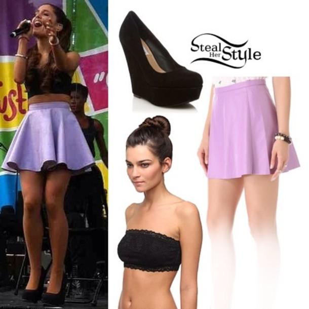 shoes ariana grande skirt shirt