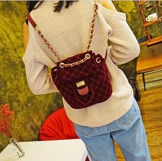 bag girly burgundy red backpack crushed velvet