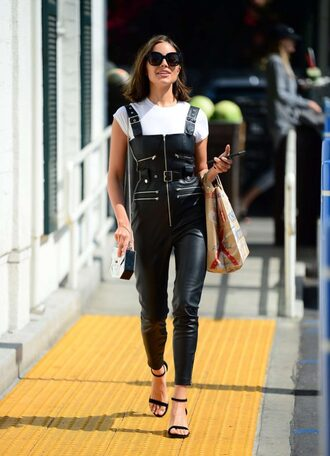jumpsuit leather black leather pants leather pants streetstyle olivia culpo sandals top sunglasses