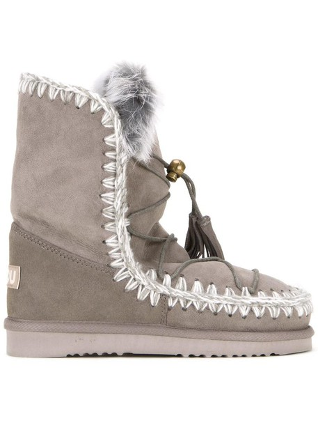 Mou women boots lace grey shoes