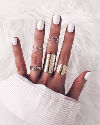 jewels jewelry ring gold ring gold jewelry knuckle ring nail polish nail accessories nails white nails
