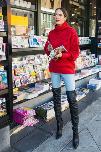 sweater tumblr red sweater knit knitwear knitted sweater turtleneck turtleneck sweater denim jeans blue jeans boots black boots over the knee boots over the knee