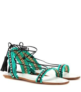 shoes green sandals sandals flat sandals green aquazzura