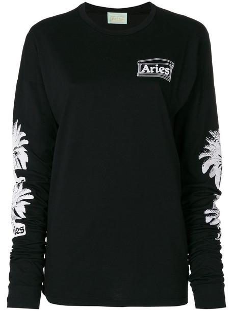 Aries - palm tree print sweatshirt - women - Cotton - 1, Black, Cotton