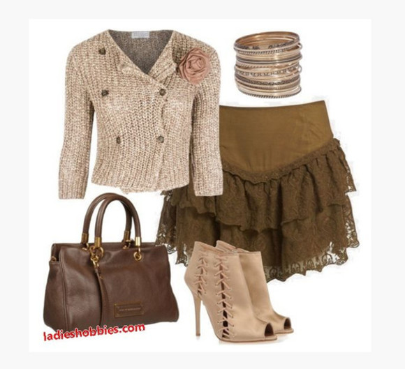 clothes skirt shirt blouse short skirt shoes sweater top frilly skirt ruffled skirt layered skirt double button sweater boots ankle boots taupe heels beige heels high heels bag purse brown purse bracelet bangles lace up boots lace up ankle boots outfit