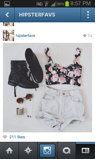 tank top shoes jewels shorts ariana grande beautiful blouse floral tank top crop tops high waisted shorts shirt flowers floral hipster soft grunge combat boots boots crop floral top t-shirt bandaeu summer summer outfits white top bralette bustier
