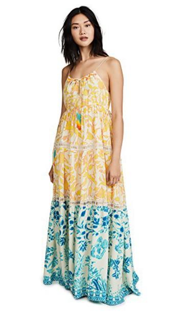 dress maxi dress maxi blue yellow