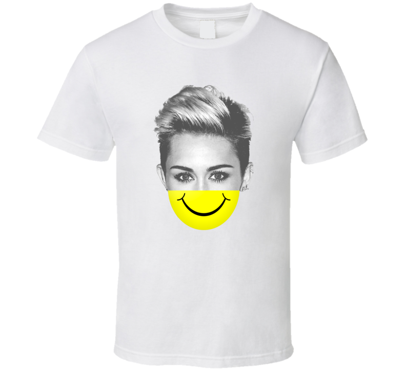 Miley Cyrus Smiley Face Parody Funny T Shirt