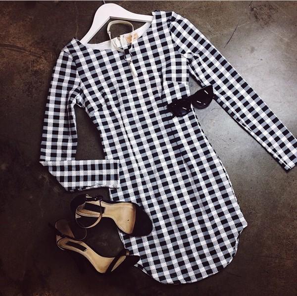 sunglasses black heels checkered dress black and white dress black and white long sleeve dress fashion