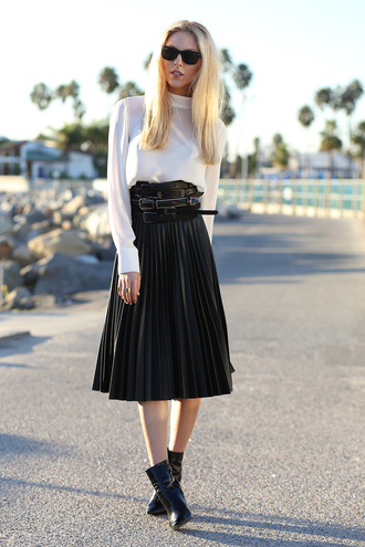 shirt skirt sunglasses jewels belt cheyenne meets chanel