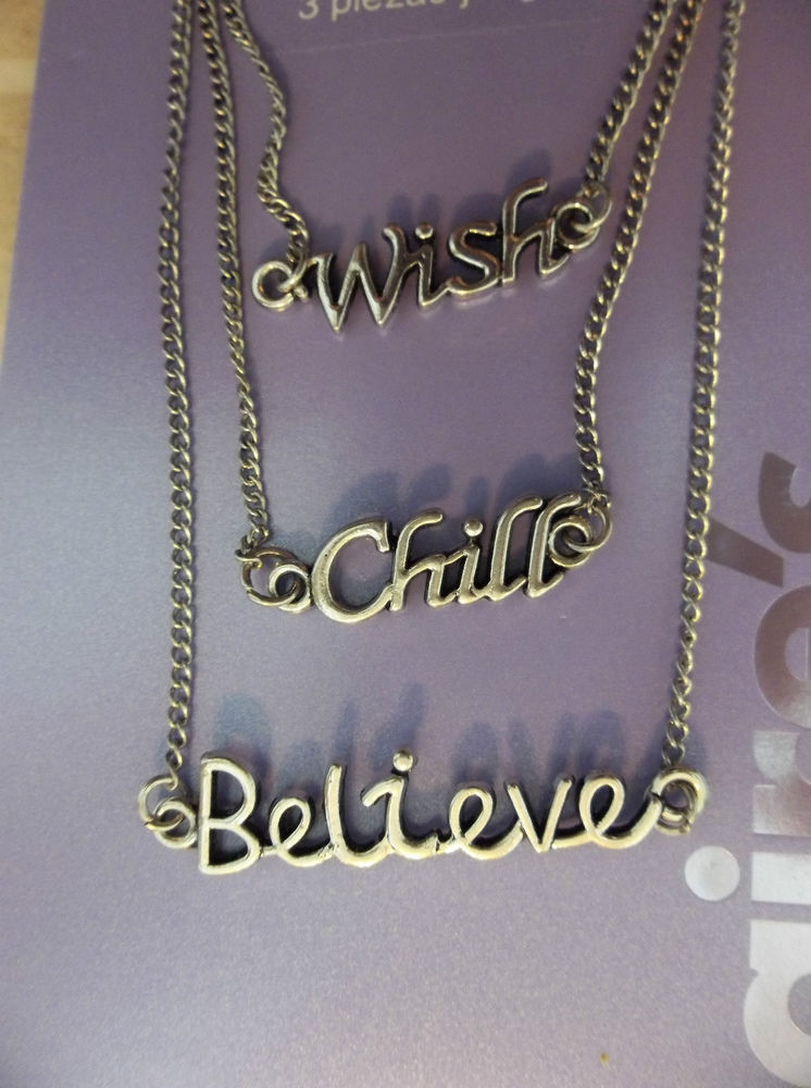"""Claires 18"""" Girls 3pc """"Wish"""" """"Chill"""" """" Believe"""" Charm Necklaces Set New 
