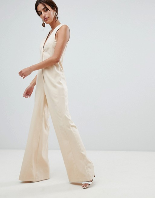 ASOS DESIGN Tailored Jumpsuit with Wide Leg at asos.com