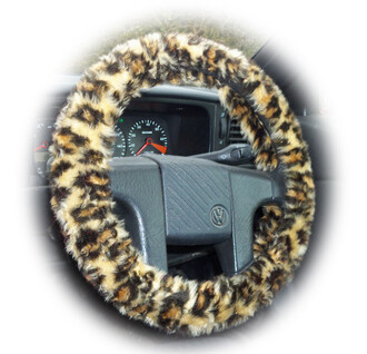 home accessory leopard print steering wheel cover animal print car accessories fluffy wild