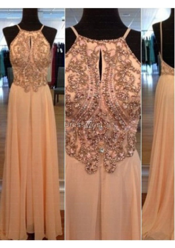 2015 blush chiffon beading sleeveless prom dress