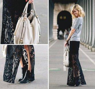 white bag white skirt black booties white tulip skirt