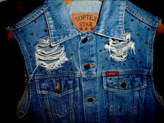 jacket vest ripped denim spikes vest studs cross vest kiss tumblr clothes coat