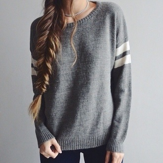 sweater grey with 2 white stripes on sleeves blouse grey sweater
