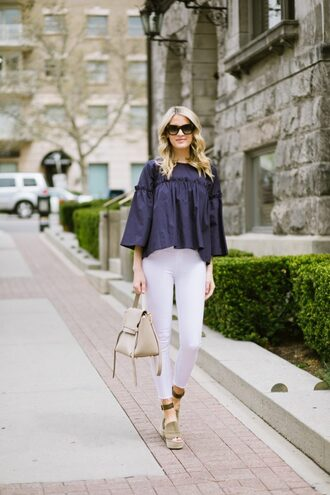ivory lane blogger top jeans shoes bag sunglasses make-up blue top handbag white pants wedges sandals summer outfits spring outfits