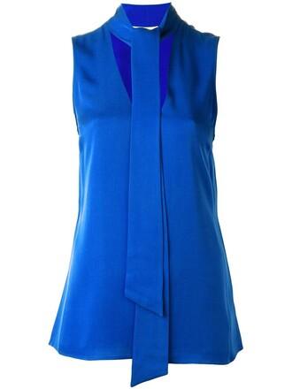 top sleeveless top bow sleeveless women blue silk