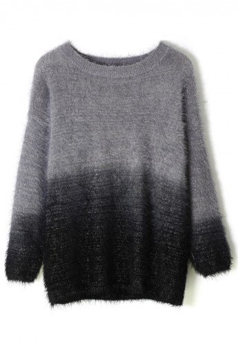 Black Color Ombre Fluffy Sweater - Retro, Indie and Unique Fashion