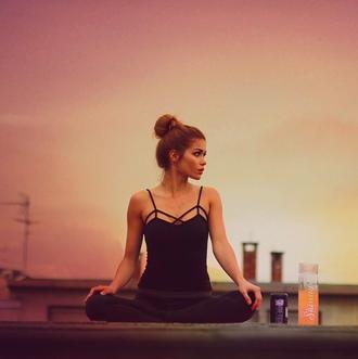 top pamela_rf yoga black sunset sporty t-shirt shirt sportswear fitness