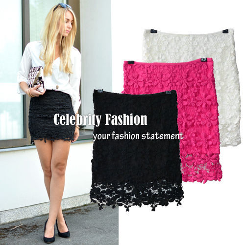Celebrity Style Women's Crochet Lace Floral Fitted Pencil Body Con ...