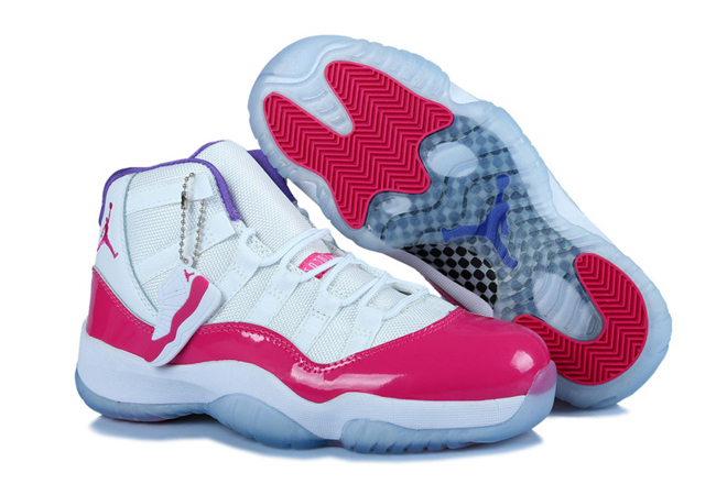 Retro Jordan XI (11) White/Pink - Purple-Womens Nike Shoes