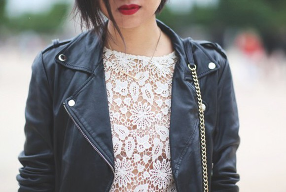tokyobanhbao top lace blogger leather jacket jewels necklace fashion hipster goth hipster lipstick make-up chain