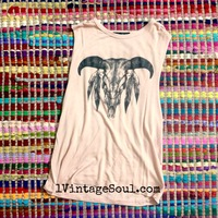 Bull Head with Feathers Muscle Tee · 1 Vintage Soul · Online Store Powered by Storenvy