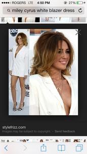 jacket,blazer,dress,white,miley cyrus,louboutin,plunge v neck,shoes