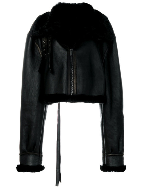 Unravel Project jacket oversized jacket oversized cropped fur fox women leather cotton black