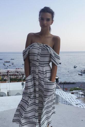dress midi dress summer dress off the shoulder stripes striped dress emily ratajkowski