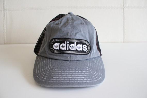 4e7c1dd3f458d Vintage Adidas Snapback Cap Hat Embroidered Mesh Back Cap Gray Trefoil Rare  90s Deadstock Skater Surfer Hat Unisex Hip Hop Norm Core