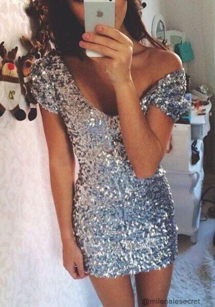 dress sparkly dress silver dress silver sequin dress