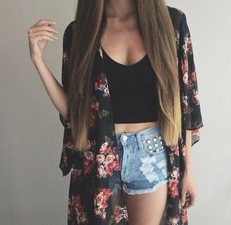cardigan kimono flowers shorts