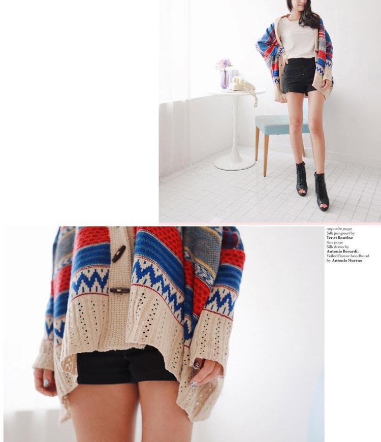Korean bat sleeve loose ethnic trend striped knit cardigan sweater jacket coat