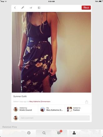 silk skirt high waisted skirt floral skirt navy skirt summer outfits maxi skirt cami spaghetti strap